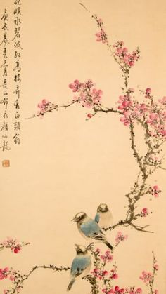 Chinese Painting Hanging Scroll 'Peony, Apricot and Blue Birds' a011