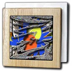 Evening Blue with Yellow and orange Egg-Shaped Backdrop With Wispy Embossed Effect Up Front Tile Napkin Holder