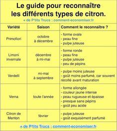 Selon sa variété, l'écorce d'un citron sera plus ou moins épaisse, sa pulpe plus ou moins juteuse et son goût plus ou moins parfumé, acide, doux ou sucré. Heureusement, nous vous avons préparé un guide rapide et pratique pour choisir le meilleur type de citron selon la saison.  Découvrez l'astuce ici : http://www.comment-economiser.fr/comment-reconnaitre-facilement-differentes-varietes-citron.html?utm_content=buffer6f713&utm_medium=social&utm_source=pinterest.com&utm_campaign=buffer