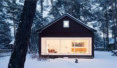 Drawing from childhood memories of fairy tales and dark forests the 'waldhaus' is a tiny contemporary cabin in the woods by German architecture firm Atelier ST.