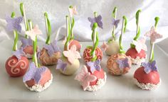 Butterfly garden red velvet cake pops! Fit for a southern princess!
