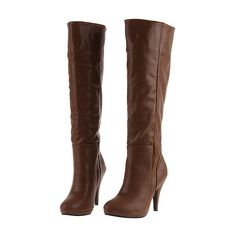 High Leg Heeled Brown Boots [AS0991] - $90.99 : ($6.50) ❤ liked on Polyvore