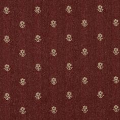 Rustic Red And Beige, Flowers Country Upholstery Fabric By The Yard