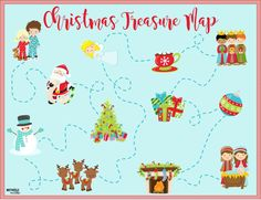 christmas-treasure-map Printable! I CAN'T WAIT to do this with the kids. Would be so fun leading up to Christmas, or even as a creative way to lead them to the tree on Christmas morning