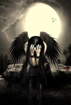 Little black angel Dark Gothic Art, Gothic Fantasy Art, Fantasy Kunst, Gothic Artwork, Anime Kunst, Anime Art, Sad Angel, Angel Artwork, Gothic Angel