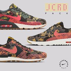#nike #nikeairmax #jcrd #jacquard #AM90  Nike 'JCRD' Pack - JCRD Camo is back! This time the Air Max 90, Air Max Thea and the Internationalist will get the Jacquard makeover. The women's only sneaker got a multicolor camo and uses pink dots instead of the normal mudguard.  Shop now! | AM 90 priced at 149.95 | AM Thea priced at 129.95 | Internationalist priced at 119.95 | Wmns sizes 35.5 - 40.5 EU