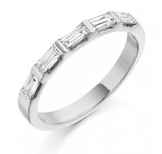 Platinum Five Baguette Cut Diamonds Ring 0.45ct