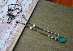Amazonite Boho Gemstone Necklace  Wire Wrapped  by letemendia, $79.00