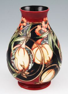 Antiques Auction  - Lot 675 A Moorcroft pottery Plevriana pattern vase on blue ground. Up for auction 30th January. Estimate £80.