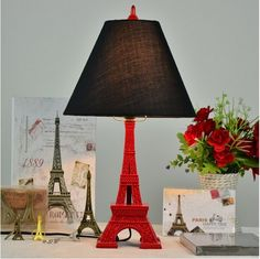 79.80$  Buy here - http://ali3cf.worldwells.pw/go.php?t=32263737723 - Lowest price vintage fabric Eiffel tower led e27 table lamp for living room bed room bedside wedding decor light 110/220V 1259