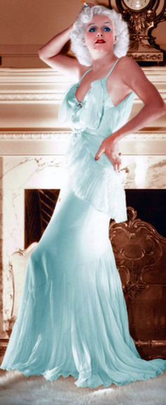 Pale Blue Jean Harlow. (Colorized Photo).