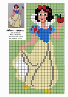 Handmade & DIY: Free Hama Beads Pattern by Soniation - Disney P. Beaded Cross Stitch, Cross Stitch Baby, Cross Stitch Charts, Cross Stitch Embroidery, Hama Beads Patterns, Beading Patterns, Hama Beads Disney, Perler Beads, Fuse Beads