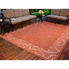 Courtyard Terracotta/Natural 5 ft. 3 in. x 7 ft. 7 in. Indoor/Outdoor Area Rug