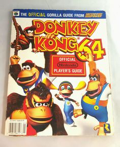 Donkey Kong 64 Official Nintendo Power Player's Guide for sale online Super Nintendo, Nintendo 64, Donkey Kong 64, The Donkey, Zelda Video Games, Diddy Kong, I Love Games, Price Sticker, Vintage Books