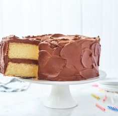 Introducing our 2019 Recipe of the Year - Flourish - King Arthur Flour: Our 2019 Recipe of the Year, Classic Birthday Cake, is an American favorite: yellow layer cake with chocolate frosting. Bake it . Round Cake Pans, Round Cakes, Chocolate Buttercream Icing, King Arthur Flour, Cake Tasting, Galette, Chocolate Flavors, Big Chocolate, Eat Cake