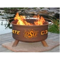 Oklahoma State University OSU Cowboys Portable Steel Fire Pit Grill