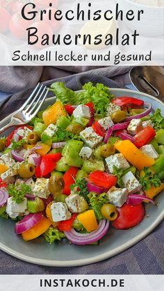 Griechischer Bauernsalat Einfaches low Carb Rezept Fertig in 20 Minuten Casteel&LowCM Law Carb, Party Salads, Low Carb Recipes, Healthy Recipes, Healthy Foods, Tzatziki, Eating Plans, Keto Dinner, Soul Food