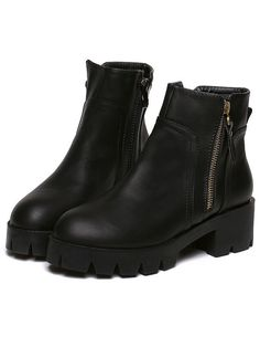 Style :Fashion Season :Spring/Autumm Boot Style :Ankle Color :Black Upper Material :PU Toe :Round Toe Platform :Platform Boot Zipper :Side zipper Heel Height(cm) :5.5cm Platform Height(cm) :3cm