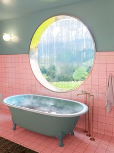 5 Round Windows That Make the Most of Natural Light - pink and green bathroom with a round window over the tub - Bad Inspiration, Bathroom Inspiration, Interior Inspiration, Fashion Inspiration, Lavabo Vintage, Mint Bathroom, Bathroom Bath, Master Bathroom, Natural Bathroom