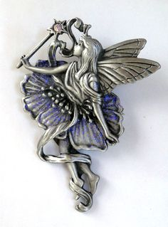 Signed JJ Brooch Pin Glitter Fairy with Wand Whimsical #JJ