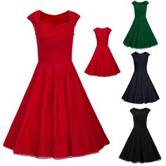 50'S 60'S ROCKABILLY DRESS Vintage Style Swing Pinup Retro Housewife Party Dress #Fioday #BallGown #Cocktail