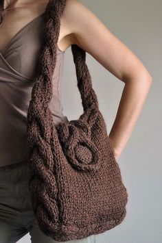 Soul of a Vagabond - classic cable handknit shoulder bag - eco-fashion by eveldasneverland, via Flickr
