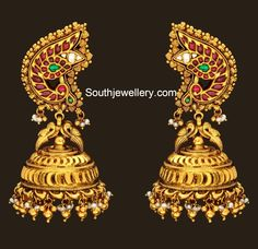 peacock_antique_gold_jhumkas