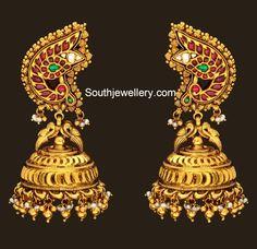 peacock_antique_gold_jhumkas