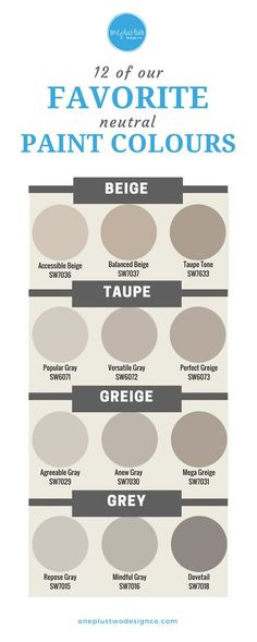 Neutrals are HOT, not bland! From Beige to Gray, learn which neutral paint colours are our favorite designer choices for your home's interior decor. | @oneplustwodesignco
