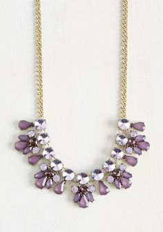 Hunker down in prep for this fancy necklace to enter your accessory collection, for you'll want to hit the town over and again once it's yours to flaunt! Faux gems and sweet beads delight this golden, curb-chain style in purple tones, marking the dawn of a sparkly season ahead.