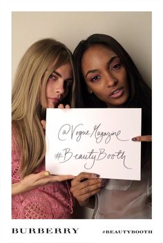Cara Delevingne and Jourdan Dunn backstage Burberry S/S 2014.