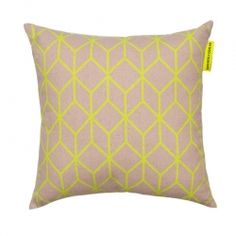 Cubed Cushion Neon Yellow   The Block Shop - Channel 9 $69.95 #InteriorDecorating #HomeFurnishings #DecoratingIdeas #InteriorDesignIdeas #DIYDecorating #Homewares