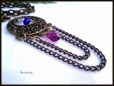 #Antique brass #filigree pendant with #amethyst & cobalt blue #Swarovski crystals by @Kathy Adams #specialtivity on #artfire #jewelry