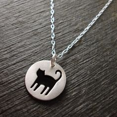 Silver Cat Necklace (Spooky with Black Resin)