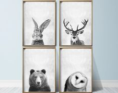 Scuola materna parete arte Animal Print Art Woodland Nursery Decor vivaio stampe vivaio stampe Nursery Set animali del bosco