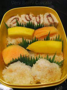 Sweet Sushi Bento - bread/Nutella rols, Mango & Papaya Nigiris & coconut riceballs!