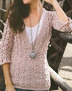 Patrones de Tejido Gratis: Suéter escote v ← I have no idea what that says. Let's hope it says free pattern. Crochet Bolero, Gilet Crochet, Crochet Shirt, Crochet Cardigan, Knit Crochet, Crochet Sweaters, Crochet Tops, Moda Crochet, Crochet Woman