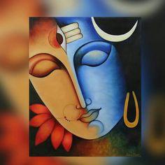 'Ardhanarishwara' - Hindu Art Painting of Shiva and Parvati as Ardhanarishwara