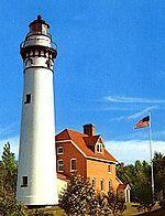 lighthouse at baileys harbor light, baileys harbor, wisconsin