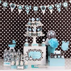 Cute boy themed shower idea :)  I was thinking this was a nice color scheme for a boy shower