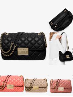 MICHAEL MICHAEL KORS SLOAN LARGE QUILTED-LEATHER SHOULDER BAG $298.00 Colors: ANTIQUE ROSE, BISQUE , PINK GRAPEFRUIT and BLACK