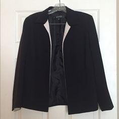 Kasper Suit Jacket Black & Ivory Open front, black polyester trimmed in ivory. Fully lined. Like New condition Kasper Jackets & Coats Blazers
