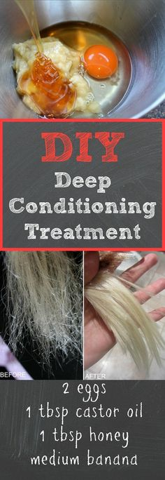 This DIY deep conditioning treatment works way better than store bough deep conditioners, and it's super cheap to make! We love this DIY deep conditioning treatment because it leaves your hair extremely soft, manageable, and will also protect colored hair Banana Hair Mask, Banana For Hair, Egg Hair Mask, Natural Hair Care, Natural Hair Styles, Natural Beauty, Natural Skin, Natural Texture, Organic Beauty