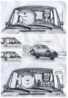 Commute ad absurdum by RobtheDoodler Cute Comics, Funny Comics, Shark Art, Cute Shark, Fantasy Creatures, Cute Cartoon, Cute Drawings, Funny Cute, Funny Memes