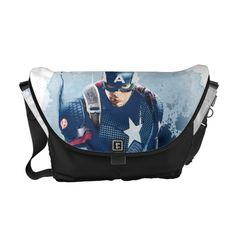 Captain America With Shield Watercolor Courier Bag