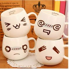 Creative coffee mug funny face printed cup for young couples