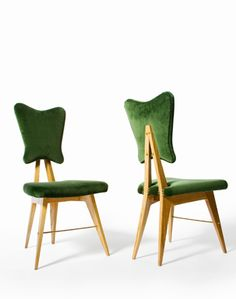 Chairs Mollino school 1950's Materials Ash wood | Cotton velvet | Brass  Dimensions (mm) Height	 930 Width	 470 Depth	 500 Description    Set of 4 rare and unusually shaped chairs made in Turin, beautifully crafted in the style of Carlo Mollino .