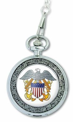 """U.S. Navy """"Medallion"""" Pocket Watch with Chain U.S. Navy. $22.50. Water-resistant to 25 feet. Quality and precise Japanese-quartz movement. Large-sized 52-mm round metal case. Durable mineral crystal. Insignia of armed forces on front cover; comes with 15"""" long chain. Save 25% Off!"""
