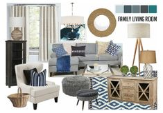 Check out this moodboard created on @olioboard: Blue Earthy Living Room by mialauren22