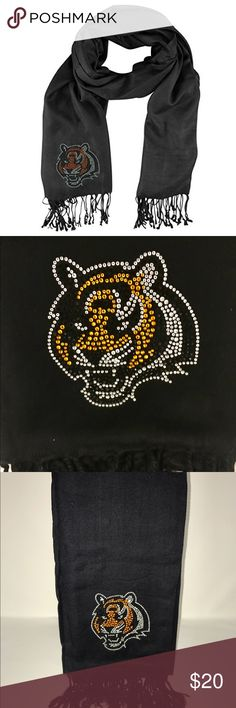 NFL Cincinnati Bengals Jeweled Pashmina Scarf Officially licensed new with tags. Support your team in crystal elegance and set yourself apart from the crowd! Can be worn as a scarf, sashy belt or a beach wrap. 100% Acrylic design, Knotted fringed ends. Accessories Scarves & Wraps
